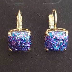 New Kate Spade Purple & Blue Glitter earrings